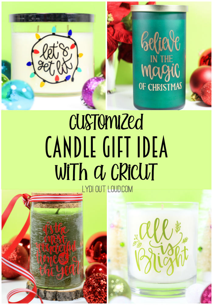 Make quick and simple DIY Custom Christmas Candles with a Cricut machine - a perfect gift idea! via @lydioutloud