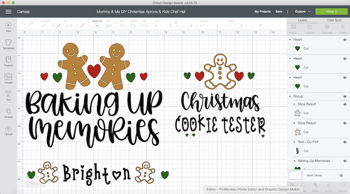 Kids and Women's Christmas Aprons with a Cricut