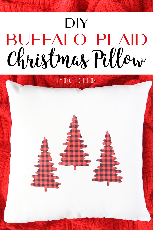 DIY Buffalo Check Christmas Throw Pillow Cover with Cricut Infusible Ink #cricut #christmasdecor #infusibleink via @lydioutloud