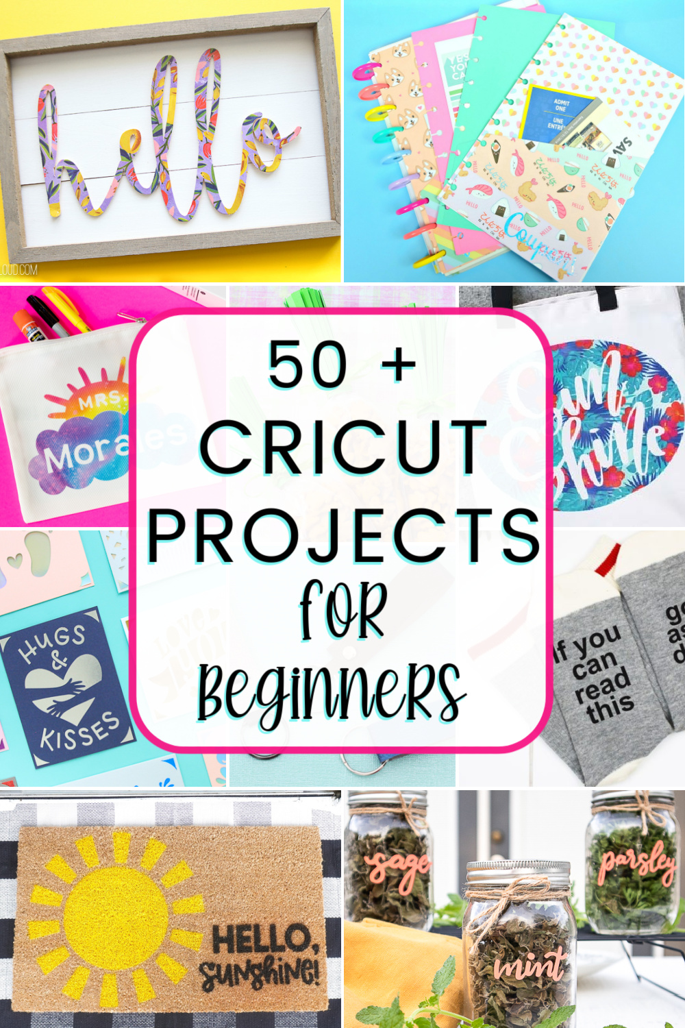 Over 50 easy Cricut projects for beginners... ideas for all different materials on all 3 Cricut machines! via @lydioutloud