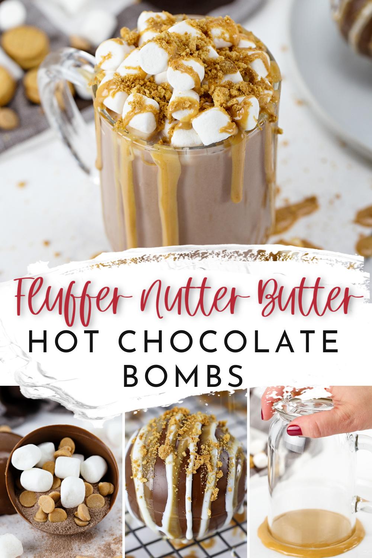 How to Make Fluffer Nutter Butter Hot Chocolate Bombs Recipe via @lydioutloud