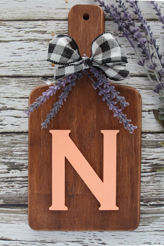 farmhouse style monogram cutting board sign